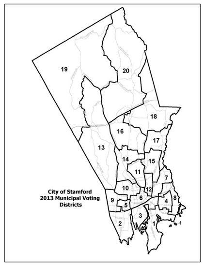 City of Stamford 2013 Municipal Voting Districts